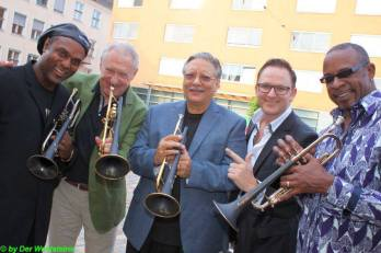 On Tour in Europe (L-R) Jon Barnes, Arturo-sandoval (ctr) Stefan Maier and Skip Martin in Barnbach, Austria at the DaCarbo Jazz Festival.