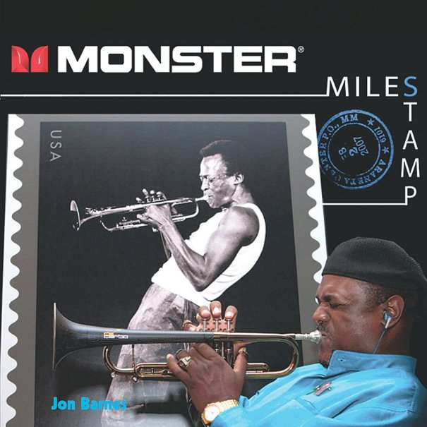 Jon Barnes on a collectible Miles Davis music CD and US POSTAGE STAMP celebrating Miles music and jazz history.  (Purchase the collectible CD music and cover stamp at: http://www.cdbaby.com/cd/jonbarnes2