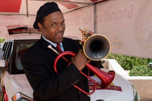 Jon Barnes sports the daCarbo trumpets.